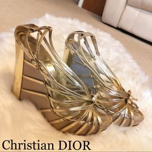 AUTH. DIOR GOLD WEDGES